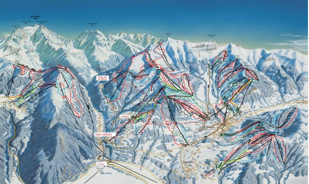 Plan des pistes de Saint-Gervais / Source : Saint-Gervais.net, site de l'office de Tourisme